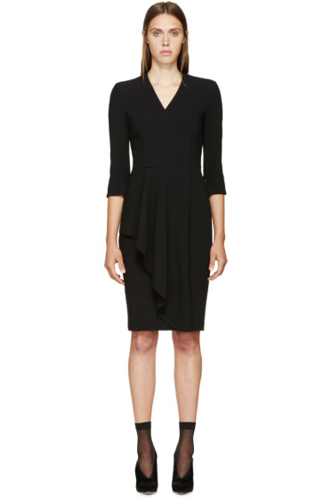 Alexander McQueen - Black Wool Asymmetric Skirt Dress