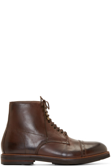 H by Hudson - Brown Leather Wantage Boots
