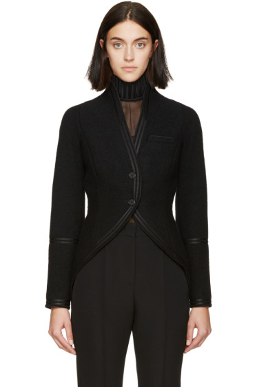 Givenchy - Black Boiled Wool Tail Coat