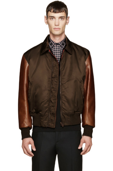Givenchy - Green & Brown Leather Sleeve Bomber