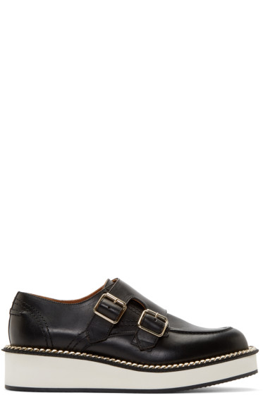 Givenchy - Black Leather Monk Strap Prore Loafers