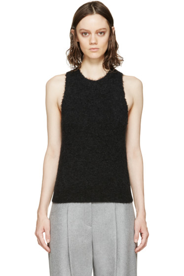 3.1 Phillip Lim - Charcoal Frayed Knit Tank Top