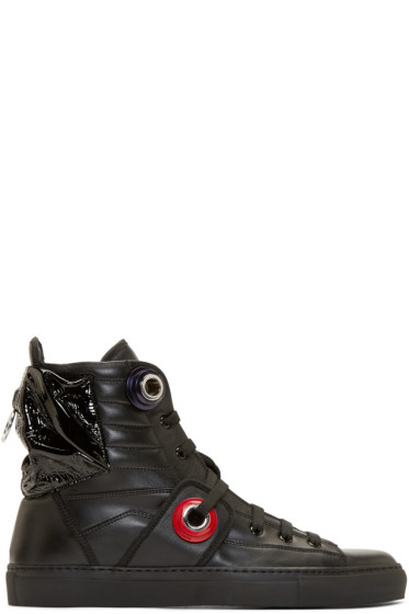 Raf Simons - Black Leather Heel Pocket High-Top Sneakers