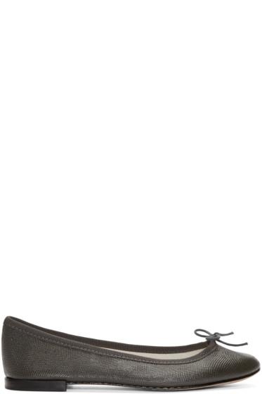Repetto - Grey Lizard-Embossed Cendrillon Flats