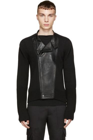 Juun.J - Black Knit & Leather Biker Sweater
