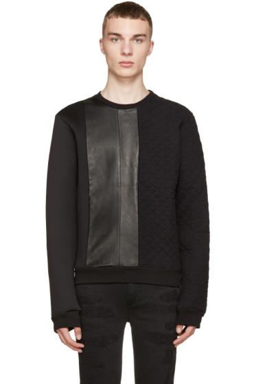 Pierre Balmain - Black Neoprene & Leather Quilted Sweatshirt