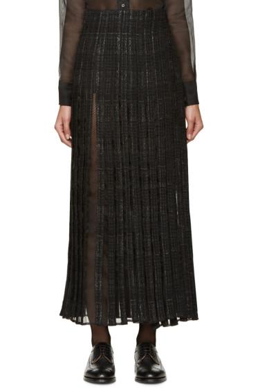 Thom Browne - Black Tweed & Silk Wrap Skirt
