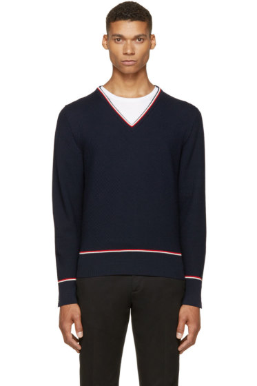 Thom Browne - Navy Tricolor V-Neck Sweater