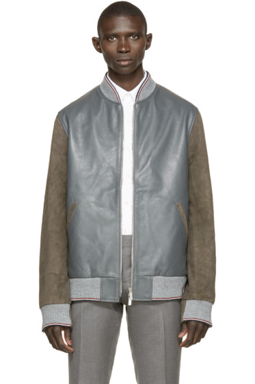 Thom Browne - Grey & Brown Leather Bomber