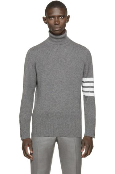 Thom Browne - Grey Striped Cashmere Turtleneck
