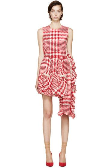 Simone Rocha - Red & White Checkered Tweed Dress