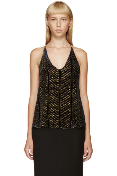 Altuzarra - Nay & Gold Devoré Velvet Andy Top