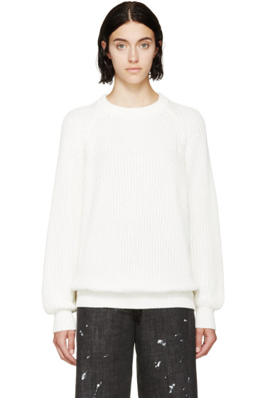 6397 - White Ribbed Knit Crewneck Sweater