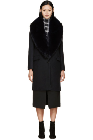 Cédric Charlier - Navy Fur Collar Coat