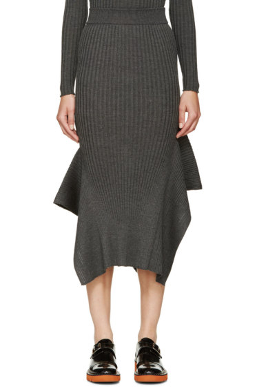 Stella McCartney - Gray Panelled Mid-Length Skirt