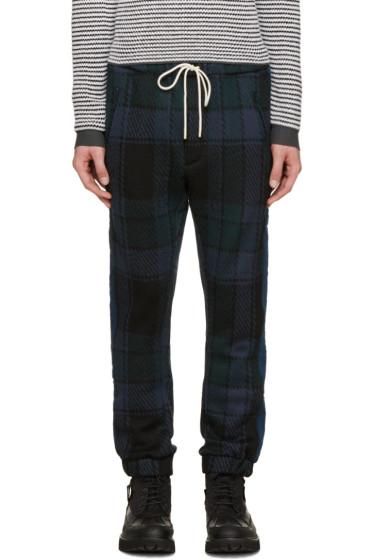 Umit Benan - Blue & Green Wool Check Jogging Pants