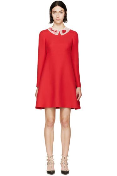 Valentino - Red Beaded Collar Dress