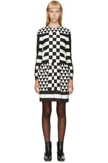 Valentino - Black & White Geometric Patterned Dress