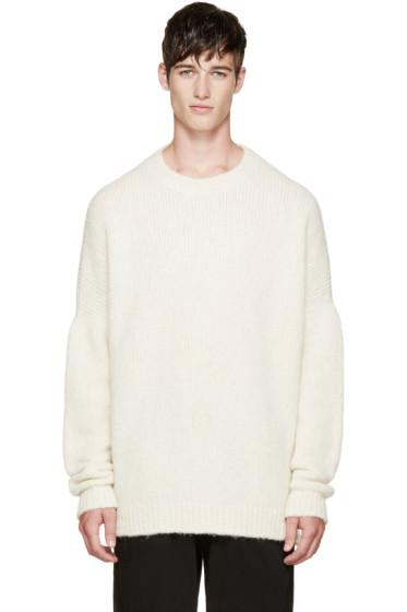 Thamanyah - Ivory Knit Baby Suri Alpaca Sweater