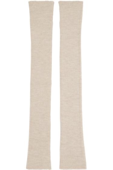 Thamanyah - Beige Wool Knit Fingerless Gloves