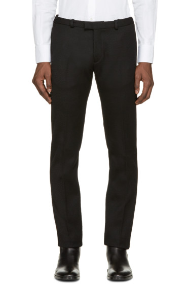 Costume National - Black Wool Ribbed Trousers