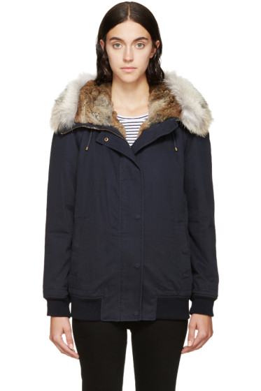 Army by Yves Salomon - Navy Fur-Trimmed Bomber Jacket