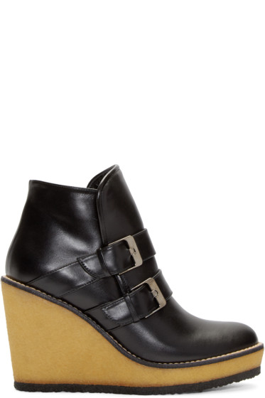 Robert Clergerie - Black Leather Avril Wedge Ski Boots