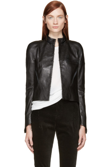 Haider Ackermann - Black Panelled Leather Jacket