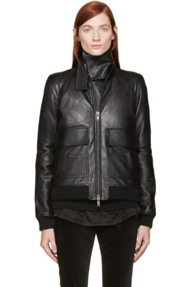 Haider Ackermann - Black Leather Inset Scarf Jacket