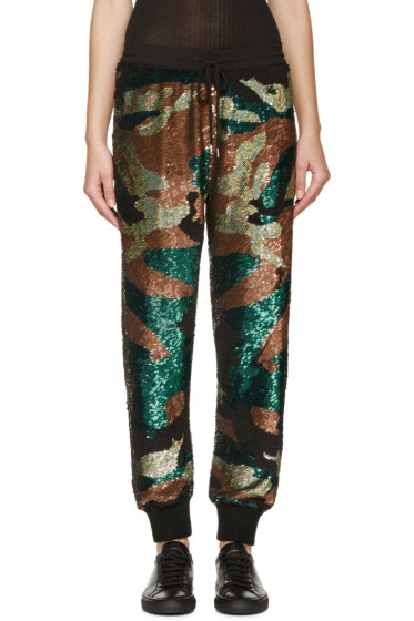 Ashish - Green & Black Sequined Camo Lounge Pants