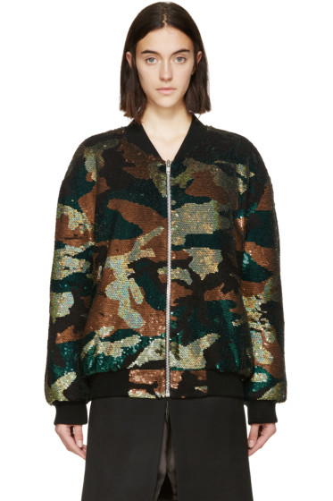 Ashish - Green & Black Sequined Camo Bomber Jacket