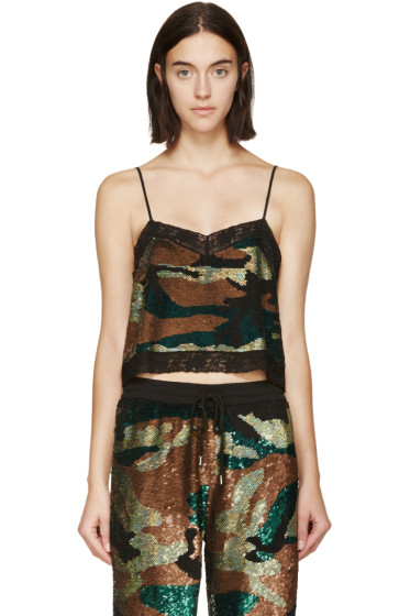 Ashish - Green & Black Sequined Camo Camisole