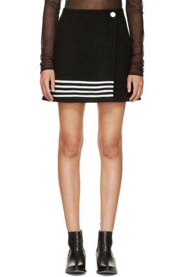 Paco Rabanne - Black & White Wool Stripe Skirt