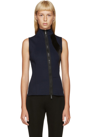 Paco Rabanne - Navy & Black Zippered Tank Top
