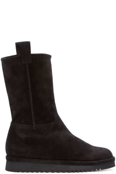 Off-White - Black Suede & Wool Boots
