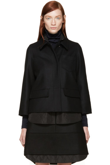 Jil Sander Navy - Black Double Layer Wool Jacket