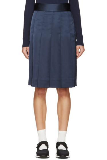 Nomia - Navy Pleated Satin Skirt