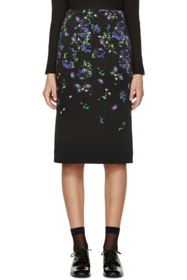 Erdem - Black & Purple Floral Degrade Aysha Skirt