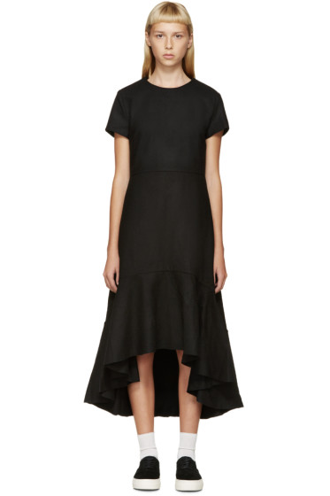 Edit - Black Wool Flounce Dress