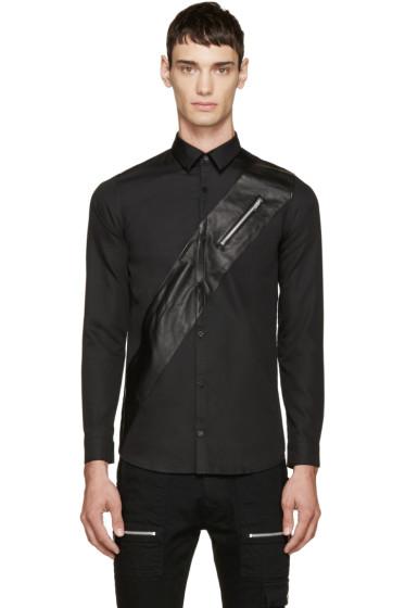 99% IS - Black Poplin & Leather Shirt