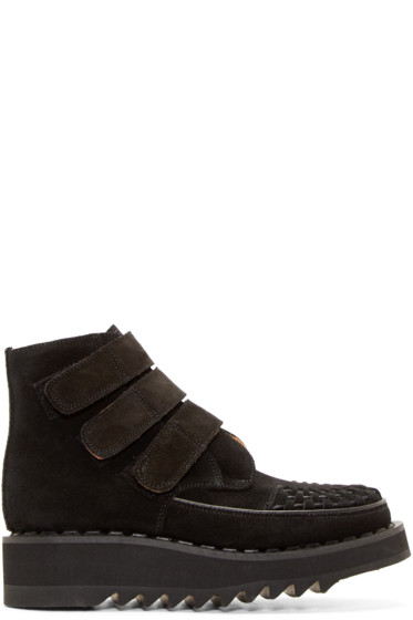 99% IS - Black Suede Velcro Creeper Boots