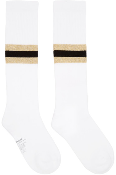 Palm Angels - White Striped Socks