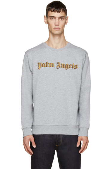 Palm Angels - Grey Embroidered Logo Bullion Sweatshirt