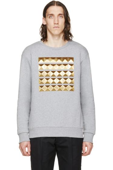 Palm Angels - Grey Studded Crewneck Sweatshirt