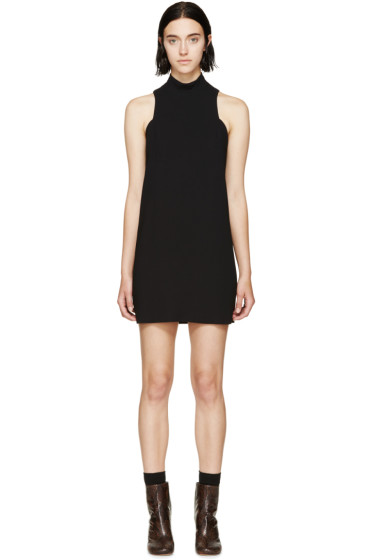 Rosetta Getty - Black Stand Collar Shift Dress