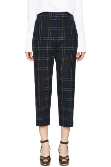 Rosetta Getty - Navy Plaid Wool Trousers
