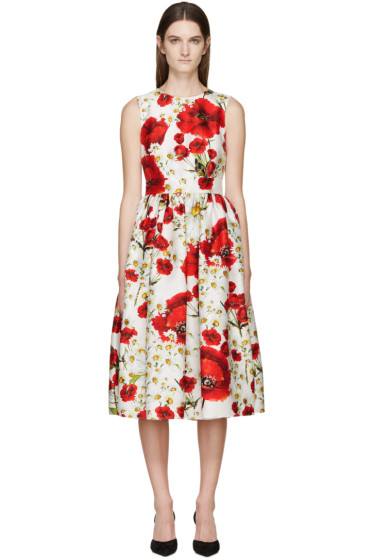 Dolce & Gabbana - White Floral Open-Back Dress