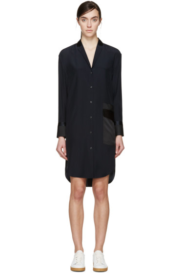 Rag & Bone - Navy Silk Ava Shirt Dress