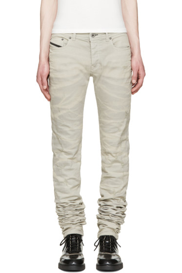Diesel Black Gold - Grey Super Long Skinny Jeans
