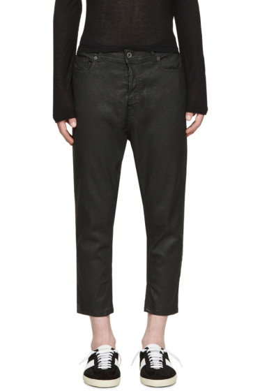 Diesel Black Gold - Black Coated Cropped Trousers